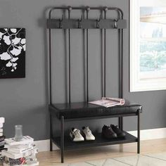 Entryway Storage Bench with Hooks
