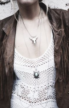 White Crochet Dress, Distressed Brown Leather Jacket, Silver Layered Necklaces... Simple Bohemain
