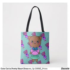 Cute Cat in Pretty Heart Dress with Pastel Colours Tote Bag ,