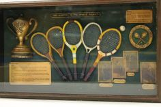 A collection of vintage racquets from the Wimbledon Museum