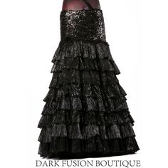 Ready 2 Ship Skirt Sparkle Flamenco Cabaret Black Ruffles Belly Dance... ($145) ❤ liked on Polyvore featuring skirts, dark olive, women's clothing, olive green skirt, silver skirt, black ruffle skirt, black stretch skirt and black sequin skirt