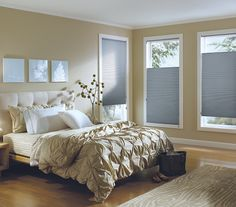 Make your bedroom cozy, cool and comfortable with the energy efficient style of Hunter Douglas honeycomb shades. ♦ Hunter Douglas window treatments