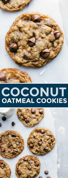 Soft chewy and flavorful coconut oatmeal cookies are a fun twist on traditional oatmeal chocolate chip cookies This version adds in flaked sweetened coconut and uses dark. Oatmeal Coconut Cookies, Oatmeal Chocolate Chip Cookie Recipe, Chocolate Coconut Cookies, Oatmeal Cookie Recipes, Coconut Macaroons, Chocolate Chocolate, Healthy Chocolate, Galette, Dessert Recipes
