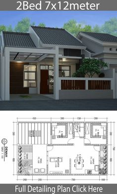 Minimalist Floor Design One Floor House - Home Design with Plansearch Small House Floor Plans, Home Design Floor Plans, Dream House Plans, Floor Design, Bungalow Haus Design, Modern Bungalow House, Bungalow House Plans, Minimalist House Design, Small House Design