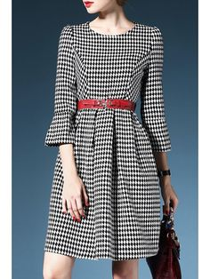 3/4 Sleeve Plaid Wool Dress With Belt - BLACK AND WHITE L Mobile