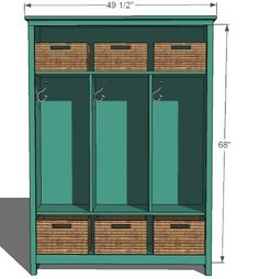 Learn how to build locker-style mudroom storage! FREE plans and tutorial at Ana-White.com