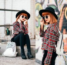Kendall Kay - It's Kendall Kay Style Blog, Visit Me On Instagram!, Splatter Paint Backpack, Little Lavander Vintage Plaid Top, Foreign Exchange Velvet Zipped Up Shorts, Juicy Couture Sequined Ankle Booties, Round Sunglasses, Black Round Hat, Black Opaque Tights - .Around the World in a Day//Prince.