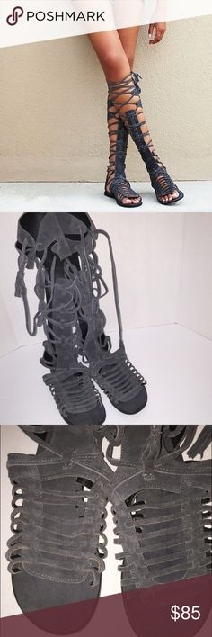 ✨Free People Gray Sun Seeker Gladiator Sandals✨ Only worn once. Practically new!! Size is 39 fits an 8 1/2 to 9 the best. Color is a charcoal suede. Free People Shoes Sandals