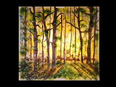 osnat paintings   Sunset Forest Painting
