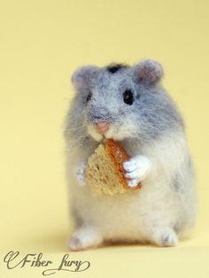 Little HamsterOOAK figurinefigurineneedle felted by Fiberfury