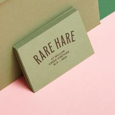 Rare Hare serves up an earthly and locally focused range of exceptional cuisine and wine @rareharewine - We printed their business cards on colourplan mid green and then duplexed for extra strength #purveyorsofprint #printthedream #printisnotdead