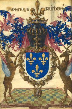 """Armes de France, au cimier en fleur de lys carrée, deux cerfs ailés (supports) et le cri """"Montjoie saint Denis"""" (f°Dv) -- «Livre fait par Gilles Le Bouvier, dit Le Hérault Berry, où l'on peut """"savoir au vray la manière, la forme et les propriétés des choses qu'ilz sont en tous les royaulmes crestiens, et des autres royaulmes"""" où il s'est trouvé, …», 1401-1500"""