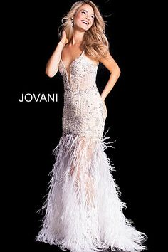 d8ebaf040e White Embellished Fitted Plunging Neck Feather Prom Dress 37604  WhiteDress   PromDress  Jovani