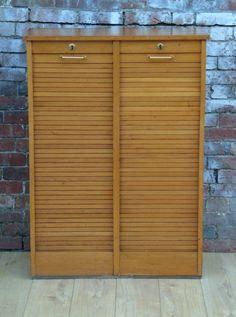 Golden Oak Tambour Filing Cabinet