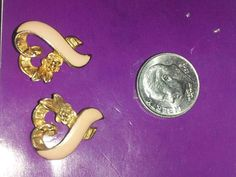 Pink Breast Cancer Ribbon Heart Gold Plated Post Earrings *SHIP'N REQ'D*