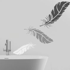 Feather stencil wall art stencil home wall décor by IdealStencils