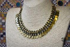 Röötz Brass necklace Tribal necklace Ancient style Primitive necklace ethnic brass necklace gift for her boho necklace