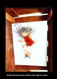 CONCHA ROJA. Tinta. Grafito. Estructura de madera
