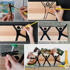 How to make a creative picture frame using clothespin and a piece of wood - DIY - Tutorial Diy For Kids, Crafts For Kids, Diy Memo Board, Craft Projects, Projects To Try, Diy And Crafts, Arts And Crafts, Ideias Diy, Mothers Day Crafts