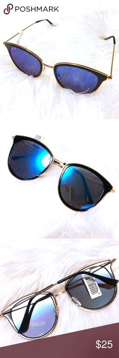 """Blue Mirrored Sunglasses w/Black & Gold 🕶 New in packaging, super on-trend and cool mirrored blue lenses with black rims and gold accents. 100% UV protection. Each lense is 2"""" across at widest point, 2.5"""" across blue lense and black rims across widest point, 0.62"""" across nose bridge. Please ask questions and feel free to bundle 2 or more items for a discount! 💕 Accessories Sunglasses"""