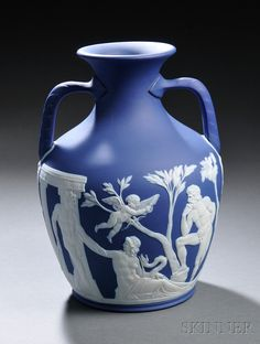 Wedgwood Dark Blue Jasper Dip Portland Vase, England, 19th century