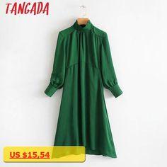 Tangada Women Green Red Dress Turtleneck Pleated Long Sleeve Retro Fashion Autumn Winter Ladies Office Wear Midi Dress TL04