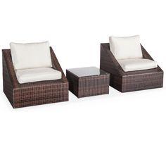 Salón de jardin 3 elementos de resina trenzada 2 sofas 1 mesa baja apilable