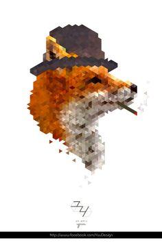 ▲ Gentlemen's instinct  [ #Pixel ・ #Geometric ・ #Triangle ・ #Gentleman ・ #Animal ・ #Fox ] ● Yuu : ユウ ● http://www.facebook.com/YuuDesign ● http://www.behance.net/XittingRoom