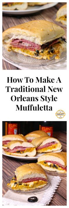 This traditional New Orleans Muffuletta recipe is a favorite Layers of meats, cheese and a special olive salad piled high onto sturdy Italian bread - food_drink Best Sandwich, Soup And Sandwich, Sandwich Recipes, Creole Recipes, Cajun Recipes, Cooking Recipes, Haitian Recipes, Louisiana Recipes, Donut Recipes