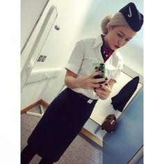 "British Airways stewardess crewfie ""Could not be anymore in love with my uniform ✈️✨ #BritishAirways #cabincrew #trollydolly #inlove #cantwait"" Photo taken by @chlohilton on Instagram, pinned via the InstaPin iOS App! http://www.instapinapp.com (03/06/2015)"