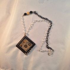 Intarsia inlay fossil coral and onyx pendant necklace by AnitaROKS