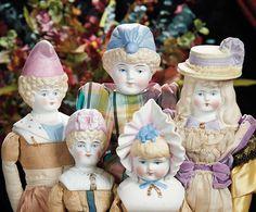 "The Lifelong Collection of Berta Leon Hackney: 535 Five German Bisque ""Bonnet"" Dolls by Hertwig"