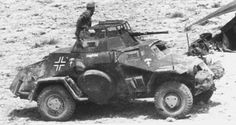 A Afrika Korps SdKfz 222 armed reconnasince vehicle.