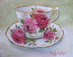 Realistic Rose Teacup And Saucer Still Life 8x10 by ChatterBoxArt, $90.00