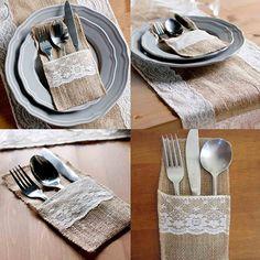 10 Pcs Home Kitchen Wedding Party Decor Jute Burlap Lace Knives Forks Pouches #Affiliate