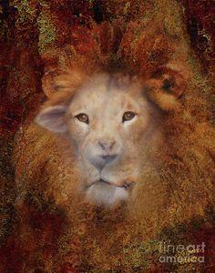 Lion Lamb Face Painting  - Lion Lamb Face Fine Art Print