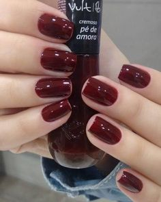 Nails gel, we adopt or not? - My Nails Em Nails, Love Nails, Gorgeous Nails, Pretty Nails, Nail Paint Shades, Image Nails, Manicure Y Pedicure, Burgundy Nails, Dark Red Nails