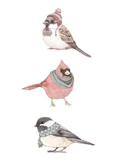 Illustration Bird scarfs and hats for those that don& fly South in the winter Art And Illustration, Animal Illustrations, Arte Indie, Bird Art, Painting & Drawing, Illustrators, Art Drawings, Sketches, Artsy