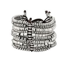 Silver and leather bracelet, by Spanish jewellery brand Uno de 50.