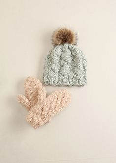 lookbym - Striped Knit Fur Pompom Hat Mint Theset Setitem