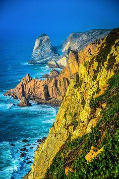 Atlantic Ocean cliffs at Cabo da Roca Portugal