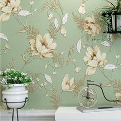 Mediterranean American Pastoral Flower Design non woven wall paper vintage floral wallpaper roll bedroom background decor-in Wallpapers from Home & Garden on Aliexpress.com | Alibaba Group