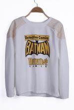 White Reglan Sleeve BATMAN Detective Comics Asymmetric Hem Sweatshirt $28.87