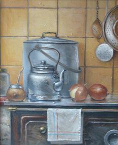 Old Kitchen, Kitchen Art, Vintage Kitchen, Artist Painting, House Painting, Painted Cottage, Kitchen Prints, Country Art, Abstract Photography