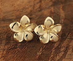 Yellow Gold Plumeria Post Earring 16mm - Makani Hawaii,Hawaiian Heirloom Jewelry Wholesaler and Manufacturer