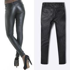 Black Plain Zipper Lederhosen Coating Sexy Long Jeans