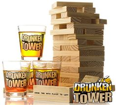 NEW Drunken Tower Party Game + Jenga Building Blocks Drinking Games Jenga Drinking Game, Drinking Game Rules, Adult Drinking Games, Drinking Games For Parties, Jenga Game, Tower Games, Camping Games, Camping Tips, Bbq Party