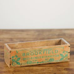 Brookfield wooden box: Small rustic wooden box.  * several of these types of boxes on a kitchen wall would provide interesting way of storing spices in the open