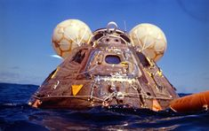 Apollo 16 Command Module Casper in 'Stable splashdown position with flotation bags deployed.