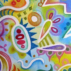 Abstract Watercolor Pencil Art Close-Up